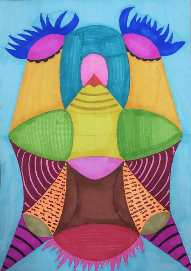 Chen Baogui: Kite that Likes the Mask of Lord, marker pen on paper, 38x53cm