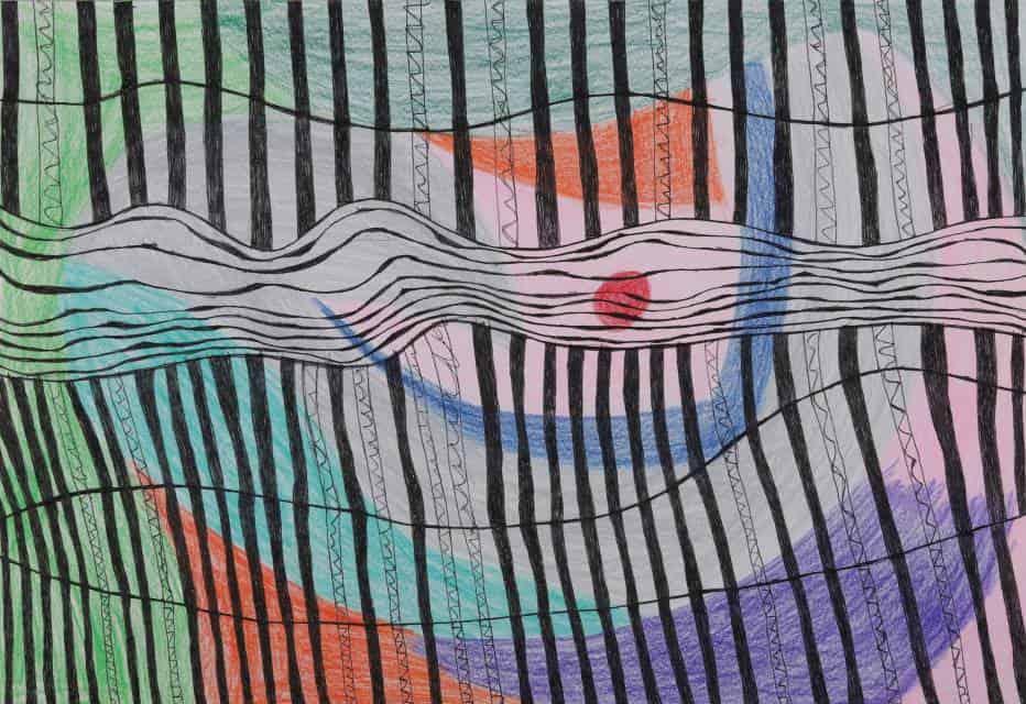 Niu Niu (b. 1991, female, Beijing): Cosmic Union, colored pen on paper, 38x26cm