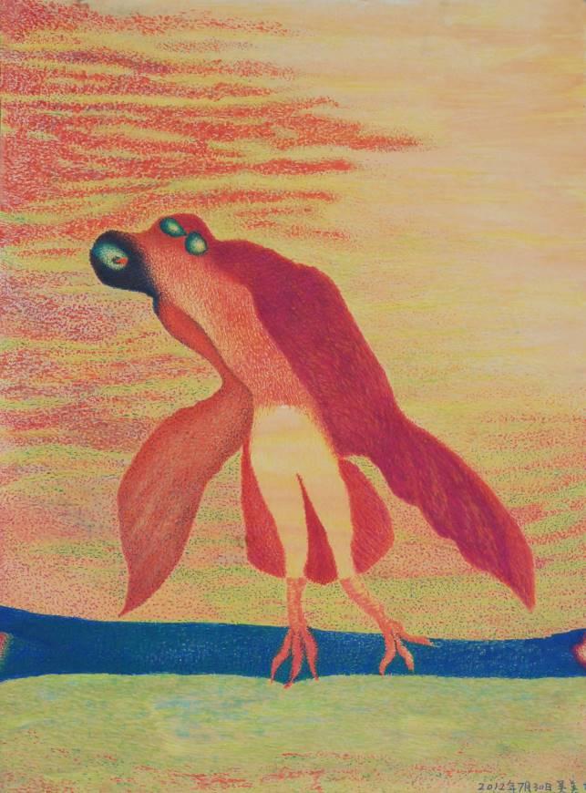 Wu Meifei (b. 1968, male, Nanping Fujian): Bird, marker pen on paper, 45x55cm