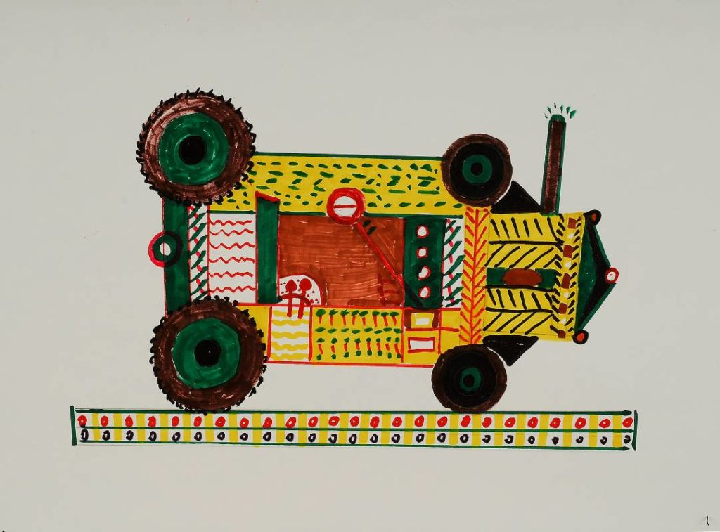 Wang Jun: Tractor, marker pen on paper/52x38cm