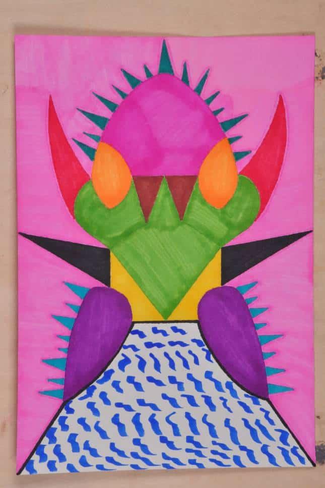 Chen Baogui: Thorny Mask, marker pen on paper, 38x53cm